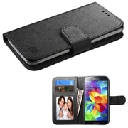 Insten Leather Wallet Case for iPhone 5 5C 5S/iPod Touch 6 5/ZTE Maven Overture 2 Fanfare Obsidian / Coolpad Rogue, Black