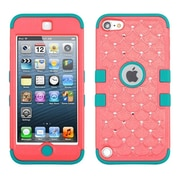 Insten Tuff Hybrid Soft Hard Case with Diamonds for Apple iPod Touch 6 6th 5 5th Gen, Baby Red/Tropical Teal
