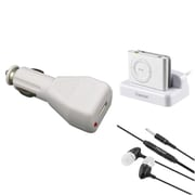 Insten White Sync USB Dock Cradle + Car Charger + Headset for Apple iPod shuffle 2nd 2G