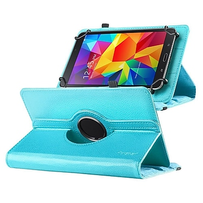 """""Insten 360 Degree Rotating Swivel PU Leather Flip Case Stand for Samsung Galaxy Tab 3 7""""""""/4 7"""""""" Tablet 7"""""""", Baby Blue"""""" 2116521"
