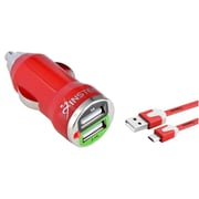 Insten Red 2-Port USB Mini Car Charger Adapter + Noodle USB Cable