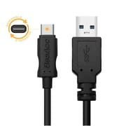 BasAcc 3' Black USB Type C Male to USB Type A Male Cable (USB-C to USB-A)