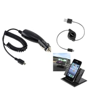 Insten Car Charger + USB Cable + Stand Mount for Samsung Galaxy S III S3 i9500 S4 SIV i8190 S5 S6 S7 Note 5 4 3 N9100