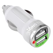 Insten 2-Pack Universal 2-Port USB Mini Car Charger White Adapter for iPhone 6S Plus 6 5 5S/Galaxy S7 S6 S5 S4 S3 Note 2 3 4 5