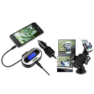 Insten FM Transmitter Car Adapter (w\/ Universal Car Phone Holder) for Galaxy S5 S4 S3 Note 2 3 iPhone 6 5 5S 5C 4 4S LED