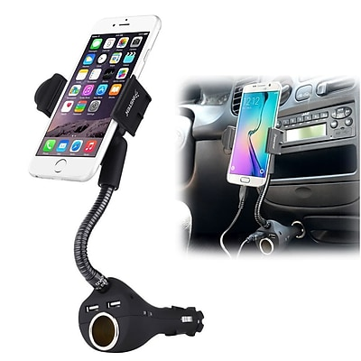 Insten Car Mount Phone Holder w\/2-Port USB Car Charger & Socket for iPhone 6S 6 6+ Samsung Galaxy S6 Edge LG Smartphone