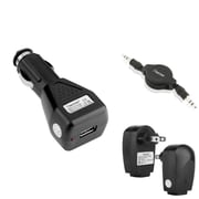 "Insten Black 3.5mm Audio Cable + USB AC WALL + Car Charger for iPhone 6 6s Plus 5.5"" 6 4.7"" iPod Touch Samsung Galaxy Note 4 S5"