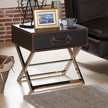 !nspire Faux Leather/Chrome Accent Table