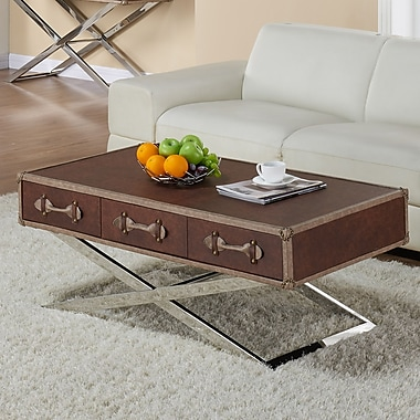!nspire Faux Leather/Chrome Coffee Table, Brown