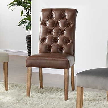 !nspire Dining Chairs, Vintage Brown Faux Leather, 2/Pack