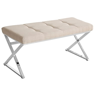 !nspire Tufted Black Faux Leather and Chrome Bench, 47