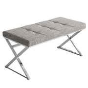 "!nspire Tufted White and Black Fabric and Chrome Bench, 39""L"