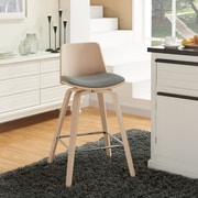 !nspire Counter Stool with Bent Wood and Grey Fabric, 2/Pack
