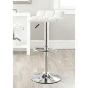 Safavieh Lamita Adjustable Height Swivel Bar Stool with Cushion; White