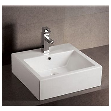 Whitehaus Collection Isabella Square Bathroom Sink w/ Overflow and Rear Center Drain