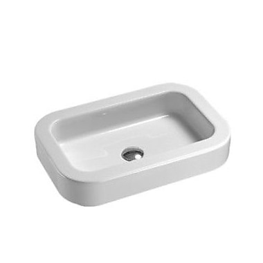GSI Collection Traccia Curved Rectangular Ceramic Vessel or Self Rimming Bathroom Sink