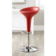 Safavieh Shedrack Adjustable Height Swivel Bar Stool with Cushion; Red