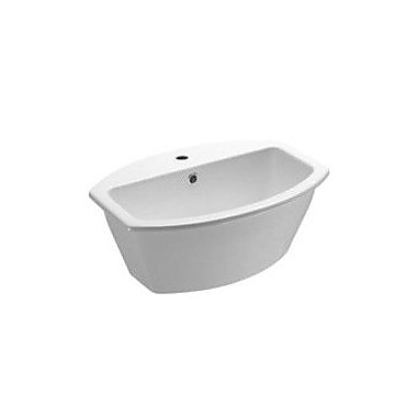 GSI Collection Losagna Oval-Shaped Ceramic Self-Rimming Bathroom Sink w/ Overflow; Single Hole