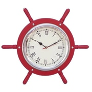 Handcrafted Nautical Decor 15'' Wooden Ship Wheel Wall Clock; Red