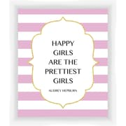 PTM Images Happy Girls Gicl e Framed Textual Art in Pink and White