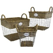 SheasWildflowers 3 Piece Willow and Wire Basket; Brown/Gray