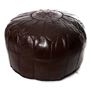 Beldi Nest Moroccan Leather Ottoman; Chocolate Brown