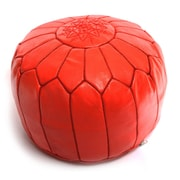 Beldi Nest Moroccan Leather Ottoman; Red