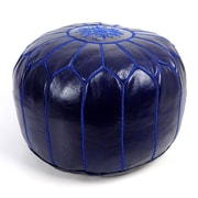 Beldi Nest Moroccan Leather Ottoman; Royal Blue