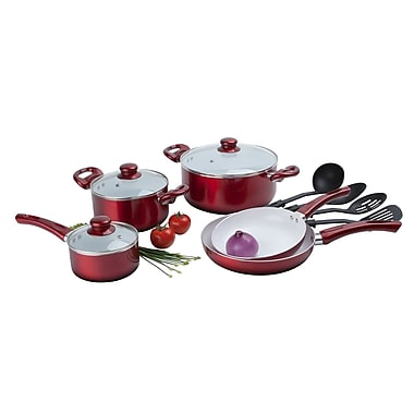 Alpine cuisine ceramic cookware set red 12 piece kaai for Alpine cuisine cookware