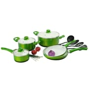 Alpine Cuisine Ceramic Cookware Set Green 12-Piece (KAAI-17827)