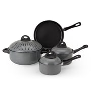 Alpine Cuisine Non-Stick Carbon Steel Cookware Set Grey 7-Piece (KAAI21776)