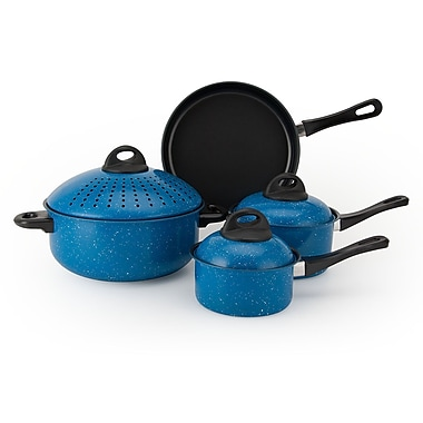 Alpine cuisine non stick carbon steel cookware set blue 7 for Alpine cuisine cookware reviews