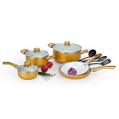 Alpine cuisine ceramic cookware set gold 12 piece kaau for Alpine cuisine cookware set