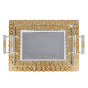 "Alpine Cuisine 14"" & 18"" Silver Plated with Gold Trim 2-Piece Serving Tray Set, Gold (KAST12983)"