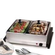 Elite Dual Buffet Server/Warming Tray, Silver (KM6122)