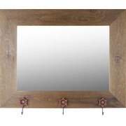 Hobbitholeco. Real Wood 29'' x 37'' Mirror With Hangers- Brown Wash