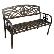 LeighCountry Fleur de Lis Metal Garden Bench