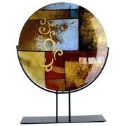 JasmineArtGlass Round Decorative Platter with Metal Stand; 10'' x 4'' x 25''