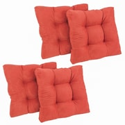 Blazing Needles Microsuede Tufted Chair/Rocker Cushion (Set of 4); Tangerine Dream