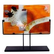 JasmineArtGlass Rectangular Decorative Platter with Metal Stand