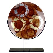JasmineArtGlass Round Decorative Platter w/ Metal Stand