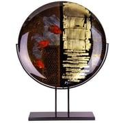 JasmineArtGlass Round Decorative Platter with Metal Stand