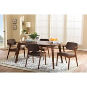 Wholesale Interiors Elegant Dark Walnut Wood Brown Fabric Upholstered 5-piece Dining Set