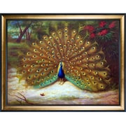 Tori Home Peacock and Peacock Butterfly, 1917 by Archibald Thorburn Framed Original Painting
