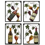 Urban Designs 4 Piece Vine & Wine Bottle Wall Art