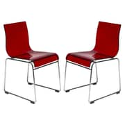 LeisureMod Lima Side Chair (Set of 2); Transparent Red