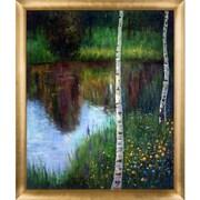 Tori Home Landscape w/ Birch Trees by Gustav Klimt Framed Original Painting
