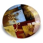 JasmineArtGlass Round Decorative Platter with Metal Stand; 8'' x 4'' x 15''