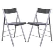 LeisureMod Menno Mo Folding Chair (Set of 2); Transparent Black
