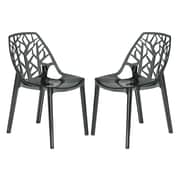 LeisureMod Cornelia Side Chair (Set of 2); Transparent Black